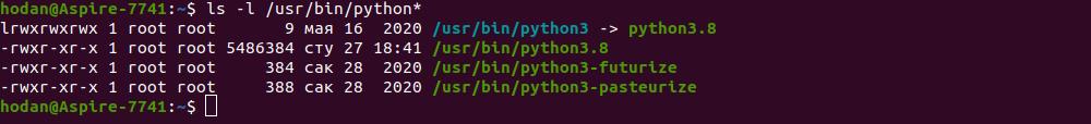 Все версии Python, установленные в Ubuntu 20 по умолчанию.