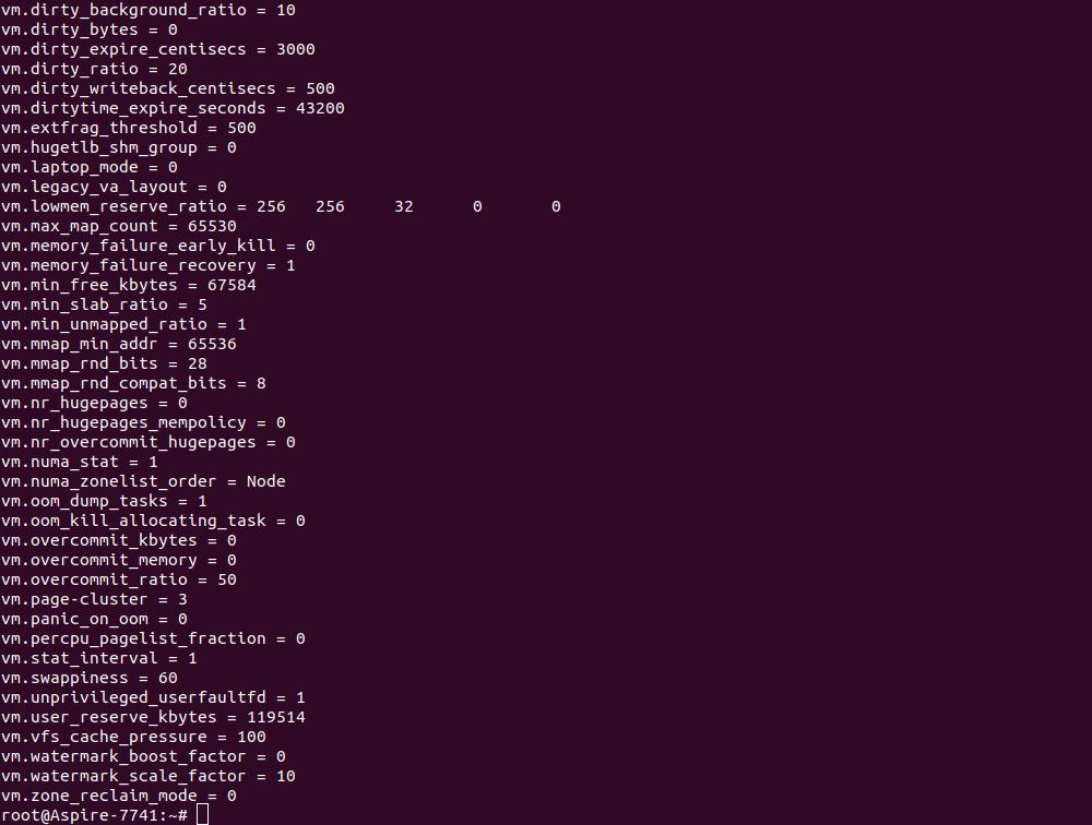 Вывод параметров, начинающихся с vm
