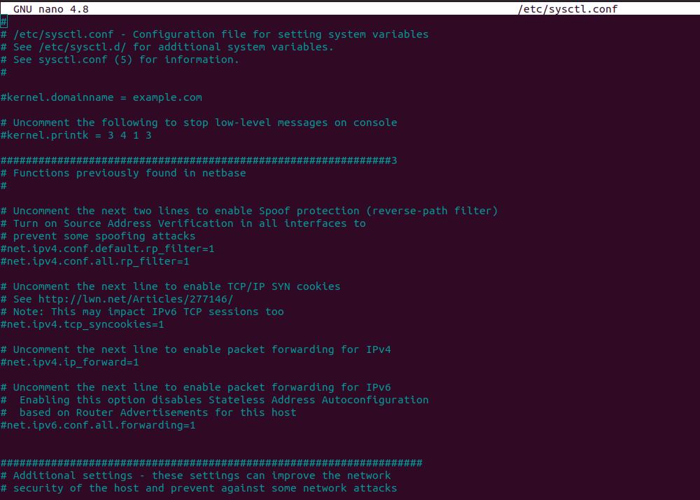 Файл /etc/sysctl.conf
