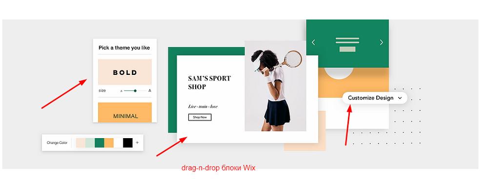 drag-n-drop блоки Wix