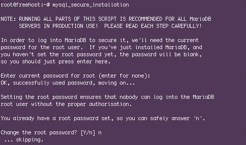 Запуск безопасно установки MariaDB