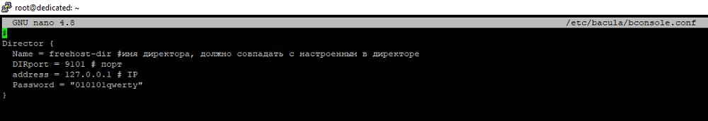 Редактирование bconsole.conf
