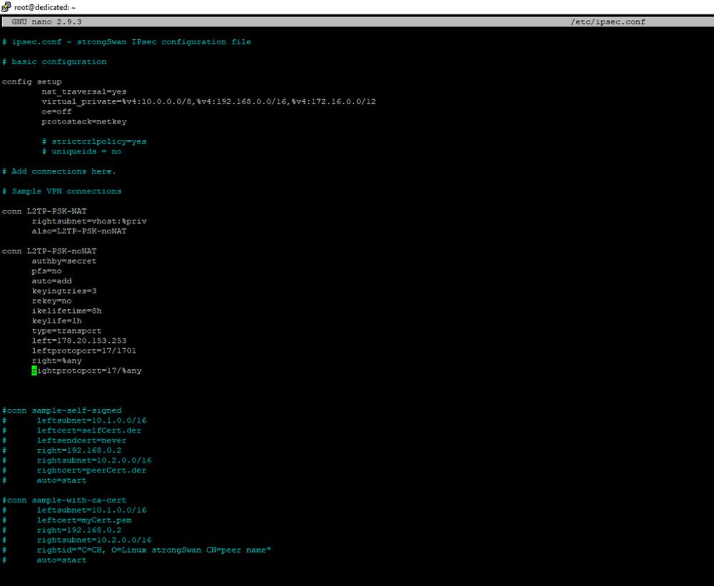 Редактирование конфигурационного файла IPSec
