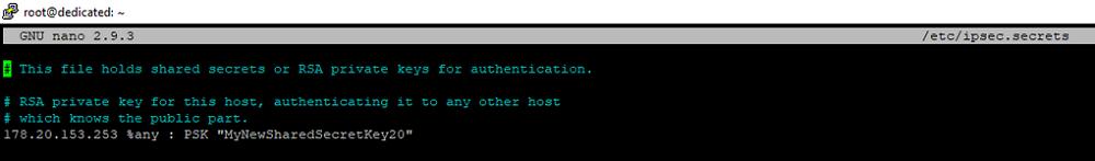Прописываем общий ключ IPsec PSK