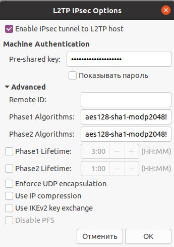 Настройка параметров L2TP IPSec, раздел Advanced