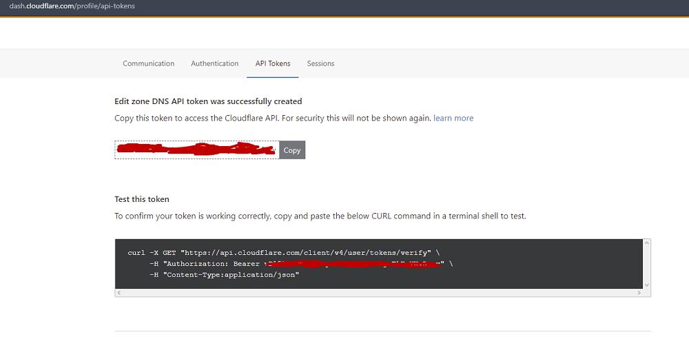 Получен API токен в Cloudflare