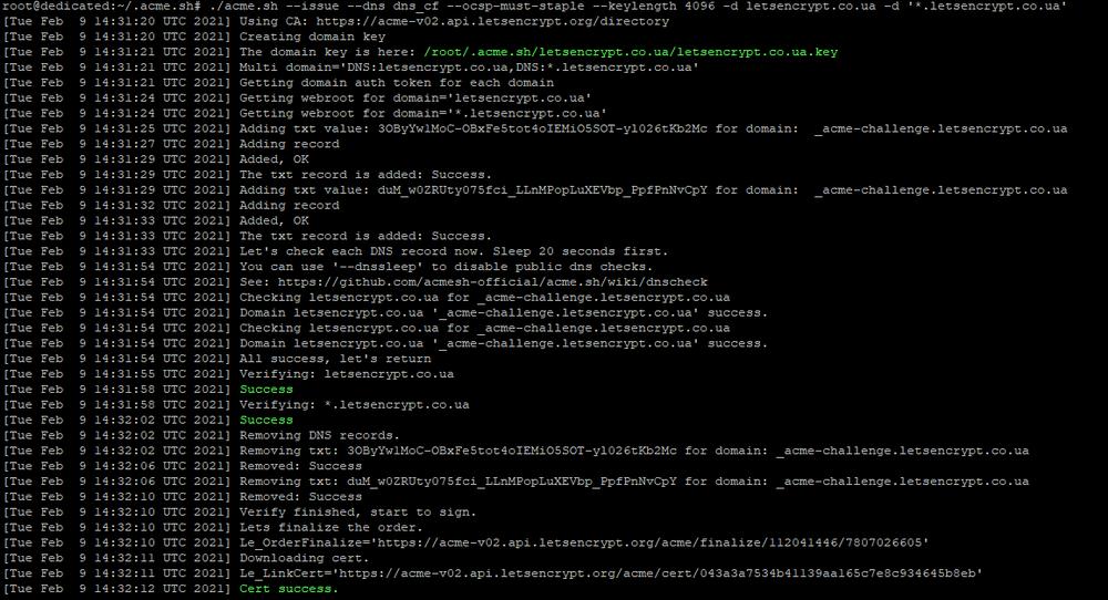 Процесс выпуска Let's Encrypt wildcard сертификата