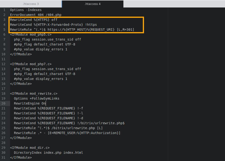 Настройка HTTPS для Bitrix