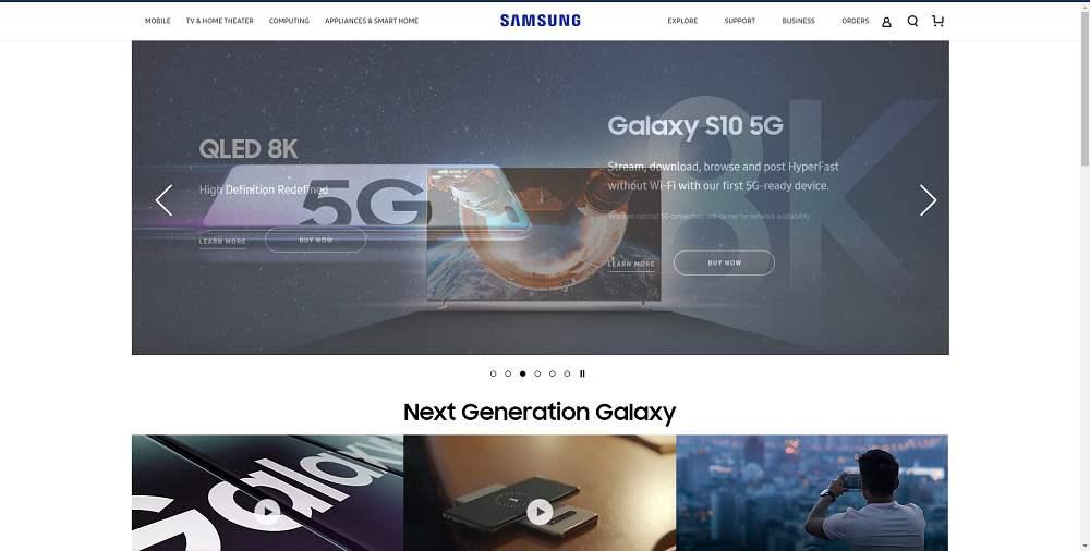 Сайт компании Samsung