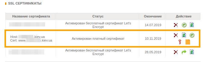 Список SSL сертификатов. Панель FREEhost.UA