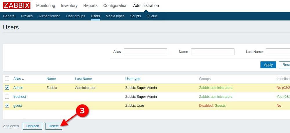 Удаление пользователей из админпанели Zabbix